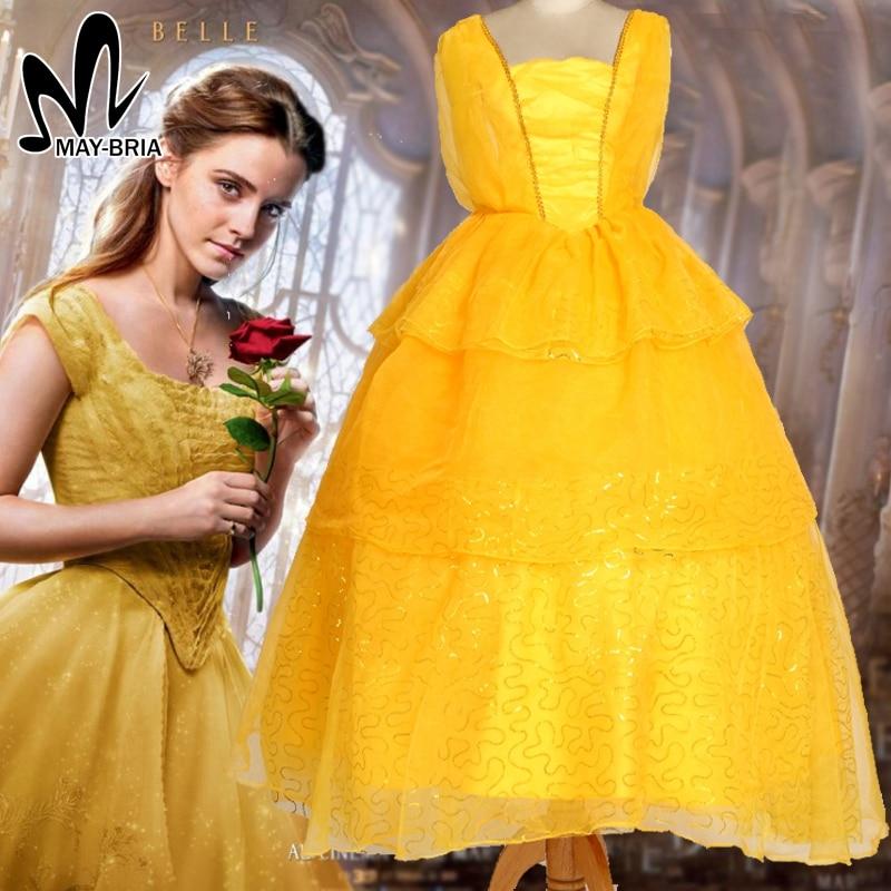 где купить Newest Girls Belle Dress Emma Watson Princess Belle cosplay costume Halloween costumes kids cosplay Beauty and the Beast costume по лучшей цене