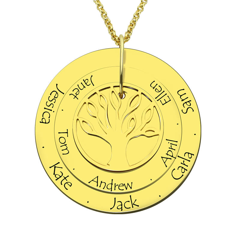 AILIN Personalized Family Tree Necklace Engraved Gold Color Disc with Names Hand Stamped Layered Disc Necklace Gift for Mother engraved family tree bracelet with birthstones rose gold color disc mother
