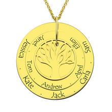 Персонализированные Семья дерево Цепочки и ожерелья выгравированы золотые Цвет диск с названиями ручной печатью слоистых диск Цепочки и ожерелья подарок для мамы