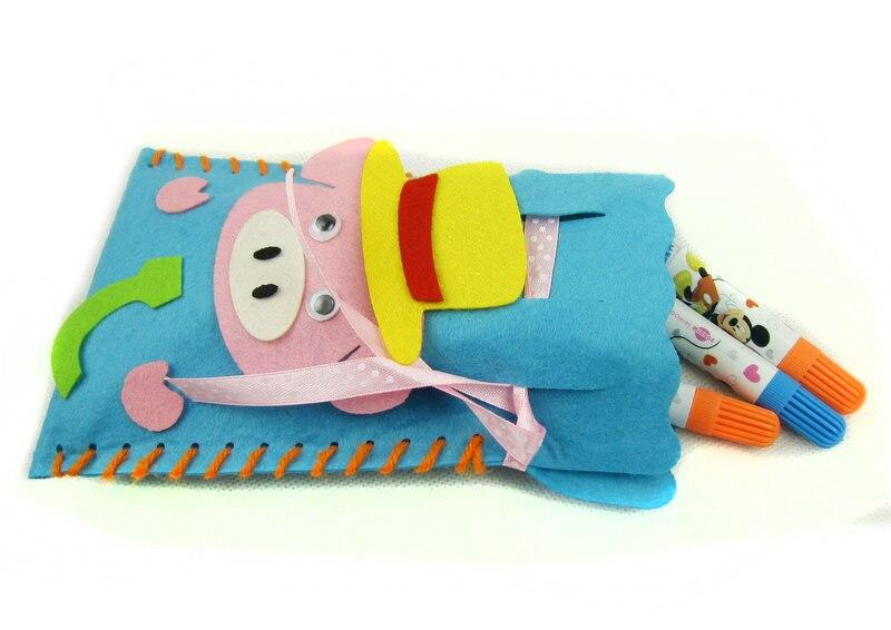 5 PCs children DIY Handmade cartoon bag toys/ Kids kindergarten sticker art craft DIY cloth gift bags for educational toys