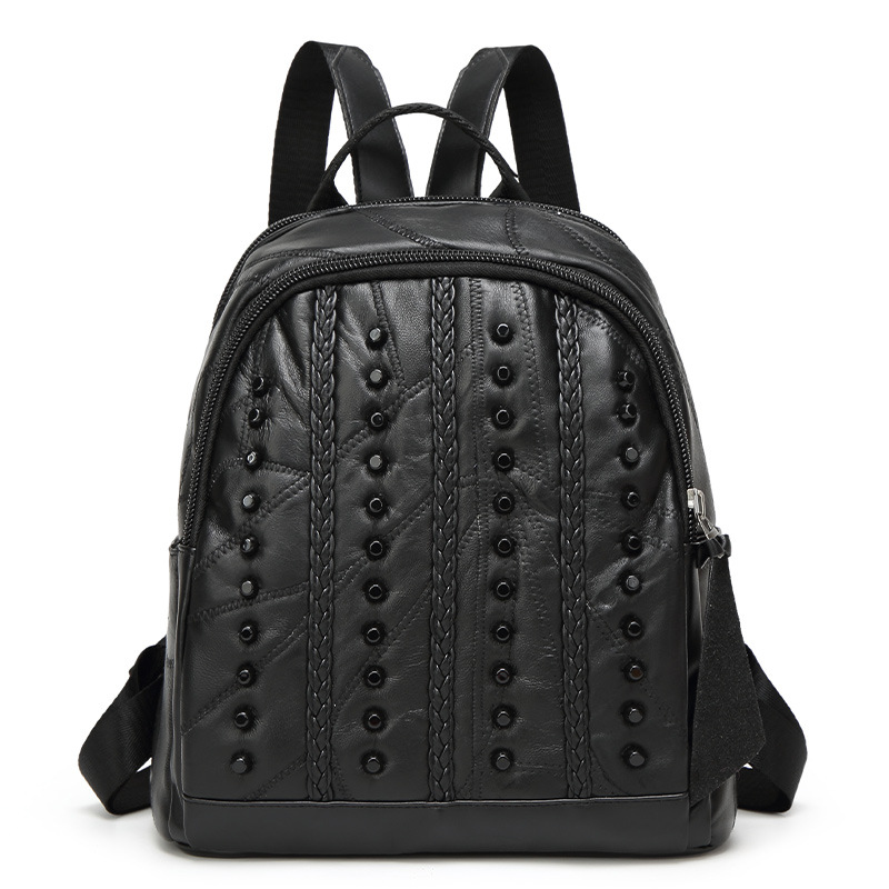 Leather backpack 2017 new fashion travel backpack sheepskin splicing backpack Leather girl s school bag