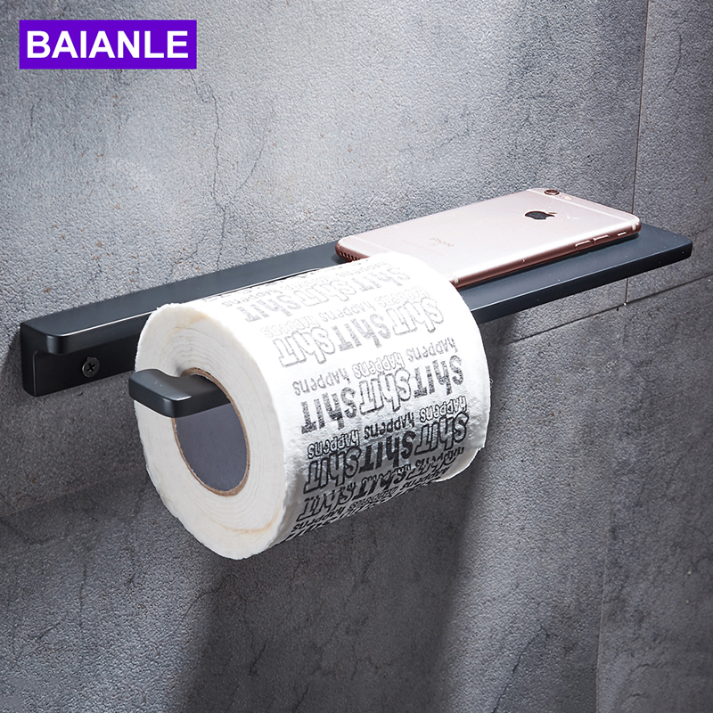 Bathroom Roll Paper Holder Creative Decorative Aluminum Black Toilet Paper Holder with Shelf Phone Paper Towel Holder Wall MountBathroom Roll Paper Holder Creative Decorative Aluminum Black Toilet Paper Holder with Shelf Phone Paper Towel Holder Wall Mount