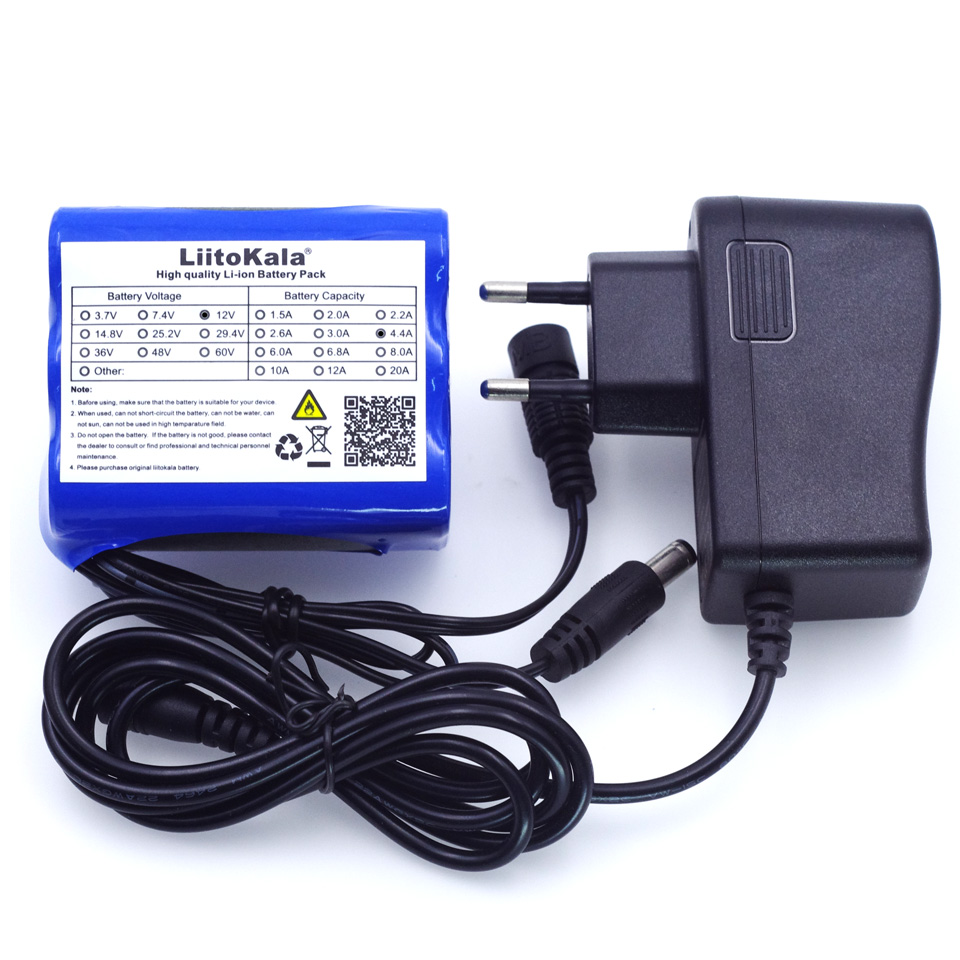 Liitokala 12 v 4 4 Ah 4400mAh 18650 Rechargeable batteries 12 6V PCB  Lithium Battery pack Protection Board +12 6V 1A Charger