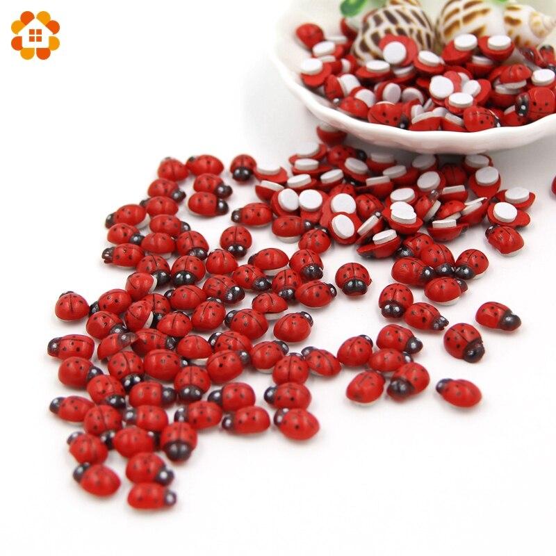 Mini 1 pacote = 100 pçs/lote esponja joaninha de madeira vermelha auto-adesivo adesivos bonito bebê frigorífico ímãs para scrapbooking decoração de casa