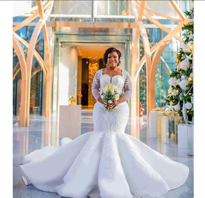 Image 4 - 2021 PLUSขนาดแอฟริกาไนจีเรียBeach Mermaid Wedding Sweetheartลูกปัดแขนยาวชุดเจ้าสาวงานแต่งงานชุด