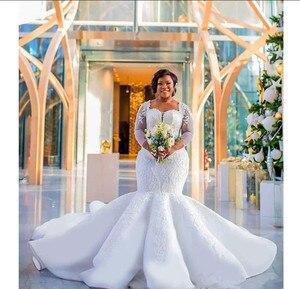 Image 4 - 2021 plus size africano nigeriano praia sereia vestidos de casamento querida lantejoulas frisado mangas compridas vestidos de noiva vestido de casamento