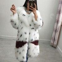 Высокое качество белый енотовидная собака меховой чисто ручной Длинные Настоящее пальто с мехом кофта с длинными рукавами Женский костюм в