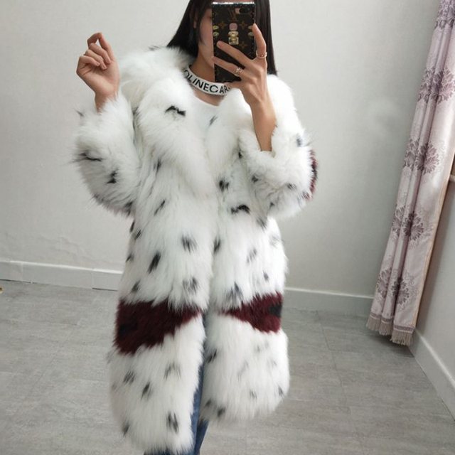 High quality white Raccoon Dog Fur pure hand-woven long real fur coat long-sleeved jacket female suit collar was thin special