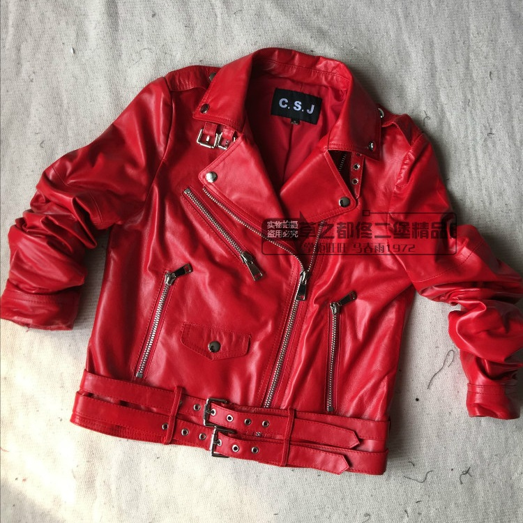 Hot Red Genuine Leather Jacket Women Motorcycle Jacket -2375
