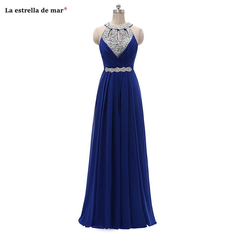 high quality taffeta O-Neck crystal backless retro a line Royal blue blush pink golden purple burgundy   bridesmaid     dresses   long