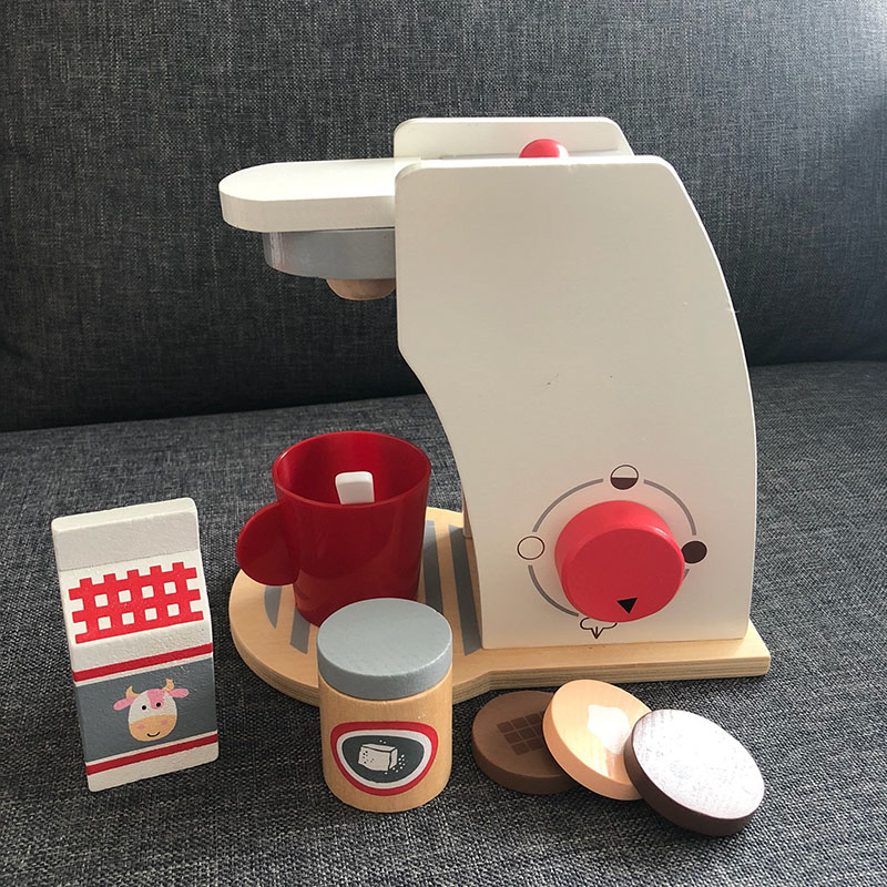 Baby Wooden Kitchen Toy Wooden Coffee machine Toaster Machine Food Mixer for kids Pretend Play Early Learning Educational Toy in Kitchen Toys from Toys Hobbies