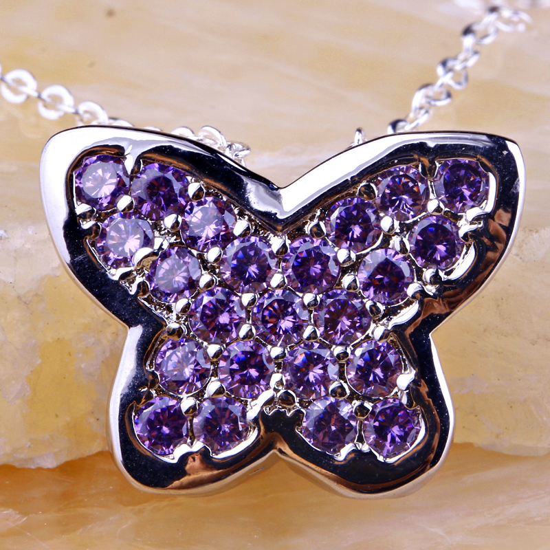Glitz Glam Blue Diamontrigue Jewelry: Lingmei Glamour Butterfly Design Purple Purple Silver