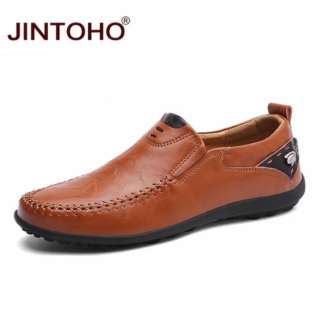 JINTOHO 2019 Men Leather Shoes Brand Mens Fashion Shoes Men Casual Leather Shoes Genuine Leather Men Loafers Boat Shoes