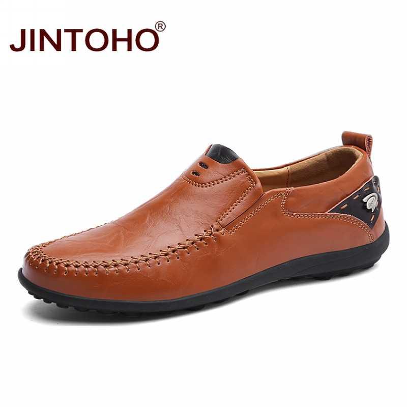 JINTOHO 2019 męskie skórzane buty marki męskie modne buty męskie skórzane buty oryginalne skórzane męskie mokasyny żeglarskie