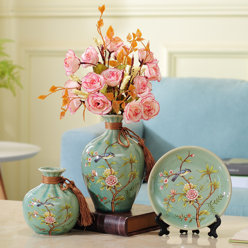 3pc Set New Chinese ceramic vase curio shelves vases for flowers wedding decoration flower with vase