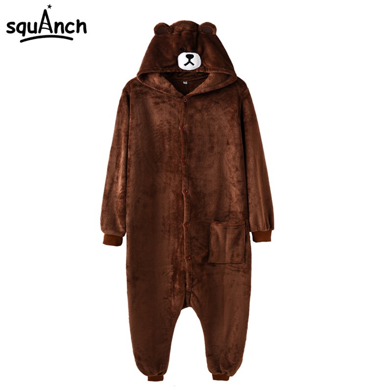 Brown Bear Onesie Pajama Adult Women Men Overalls Fashion Carnival Party Suit Cartoon Animal Jumpsuit Winter Sleepwear Flannel