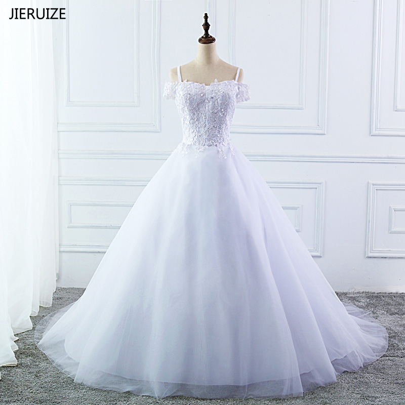 9c9bf2a4ac44c JIERUIZE White Lace Appliques Ball Gown Wedding Dresses 2018 Off the  Shoulder Short Sleeves Cheap Wedding Gowns robe de mariee