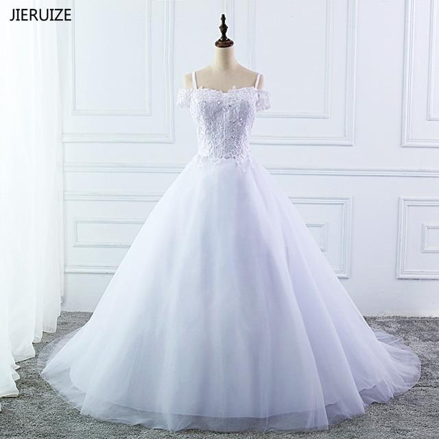 f3133a149d79 JIERUIZE White Lace Appliques Ball Gown Wedding Dresses 2018 Off the Shoulder  Short Sleeves Cheap Wedding Gowns robe de mariee