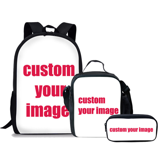 Thikin Customize Personal School Bag 3PCS Set for Boys Girls Teenagers  Primary Lunch Pen Bags Backpack Kids Book Travelbag