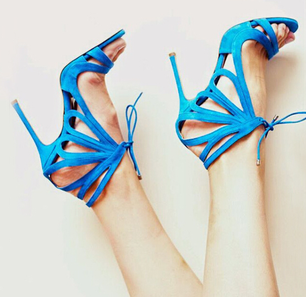 Hot selling solid color multi strap crisscross high heel sandals fashion turquoise ankle wrap lace-up stiletto heel sandals