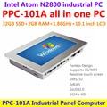 10.1 pulgadas táctil industrial panel PC, intel atom n2800 1.86 ghz cpu 2 gb ram 32 gb ssd 2xrj45 2xrs232 1024x600 todo en un ordenador