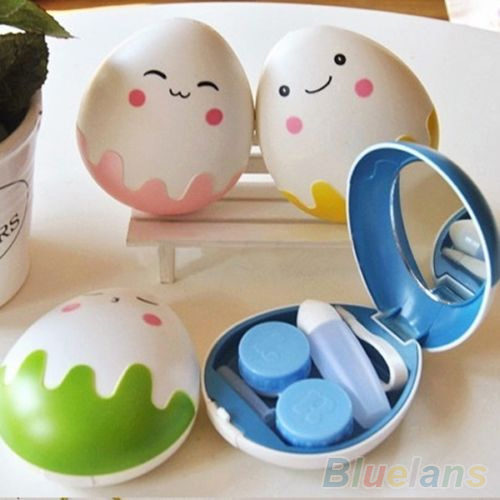 Симпатичные Яйцо Дизайн Путешествия Контактные Линзы Дело Box Set Очистки Держатель Замочите Хранения 2IYW