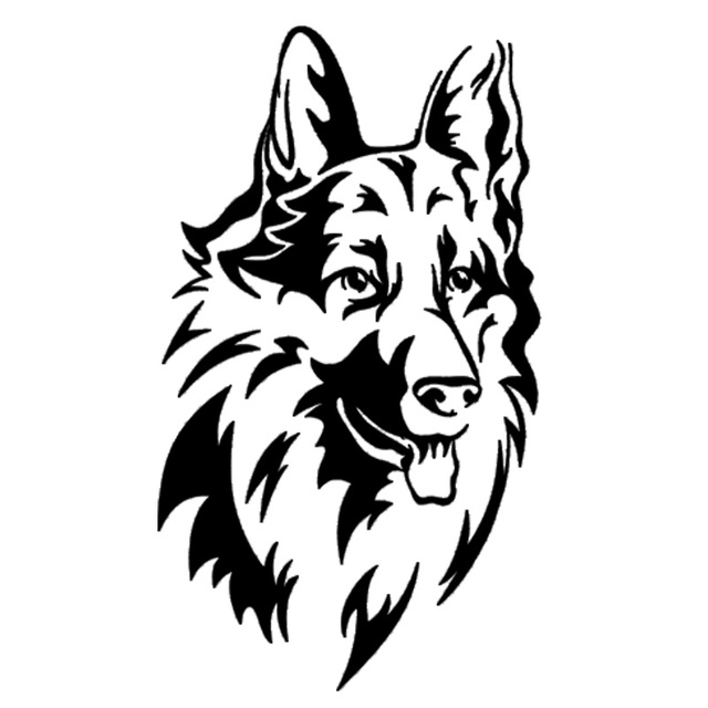 9.7*16.8CM German Shepherd Dog Vinyl Decal Waterproof Car Stickers Car Styling Truck Accessories Black/Silver S1-1125