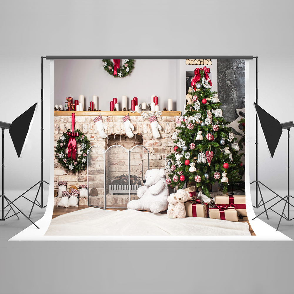 Kate Christmas Backdrop for Photography Cotton Tree Decorations Wood Fireplace Presents Background for X-mas Studio Photos 7x5