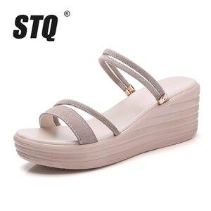 Image 2 - STQ 2020 Women Sandals Suede Leather Wedges Heel Flat Sandals Women Beach Gladiator Sandals Ladies Platform Sandals Shoes 508