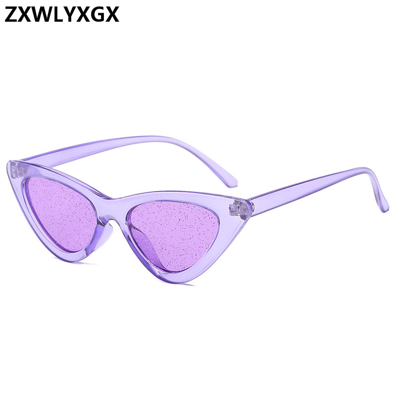 3bbefe82ac5 2018 new Small Cateye Sunglasses Women Tint Sexy Shiny Lens Sun Glasses  Vintage Cat Eye Frame Shades Womens uv400-in Sunglasses from Apparel  Accessories on ...