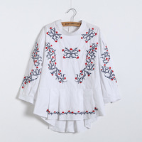 Womens Tops And Blouses 2017 Spring Summer White Three Quarter Sleeve Stand Collar Embroidered Blouse Y12