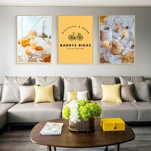 Nordic Yellow Pumpkin Bicycle Home Decoration Wall Art Pictures Canvas Paintings Poster Print For Living Room Unframed