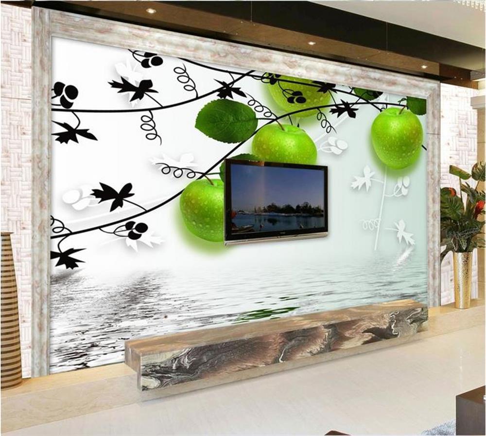 3d wallpaper ceiling/custom photo wall paper/pattern apple green