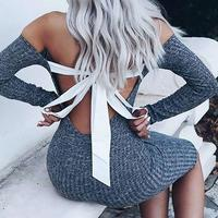Long Sleeve Sexy Club Women Backless Bow Tie Dress Slim Bodycon Knitted Sweater Knee Length Party