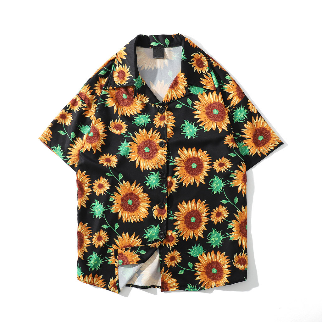 Womail Fashion Plus Size Shirts Mens Summer Sunflower Pattern Shirts Casual Short Sleeve Beach Loose Blouse 2019 New Arrival