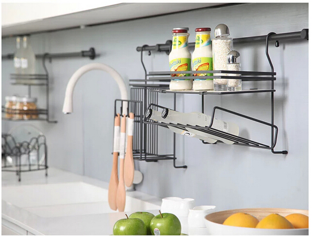 Stainless Steel Kitchen Hang Hang Lever The Cover Frame Head Seasoning  Frame The Hanging Shelf In