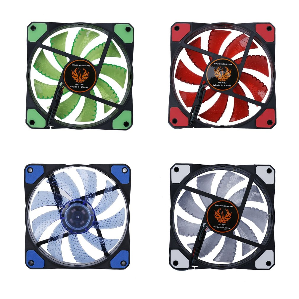 New 120mm LED Ultra Silent Computer PC Case Fan 15 LEDs 12V With Rubber Quiet Molex Connector Easy Installed Fan Drop Shipping