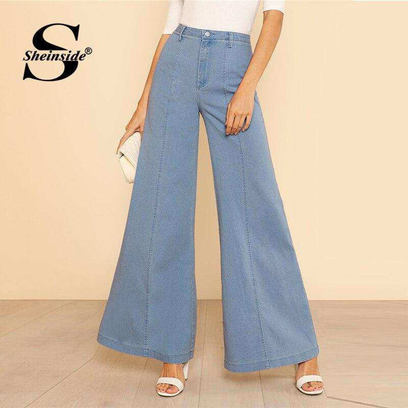 Sheinside Blue High Waist Elegant Denim Bell Bottom   Jeans   Office Ladies Workwear Button Zipper Women Autumn Flare Leg Pants