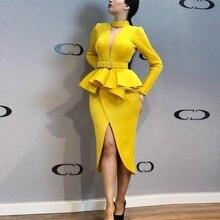 فستان فورمال أنيق باللون أصفر الزاهي بحزام على الخصر