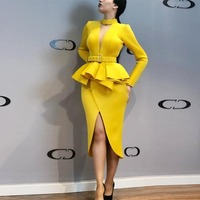 Women Long Sleeve Ruffle Yellow Dresses with Sashes Summer 2019 Elegant ladies party dress vestido mujer