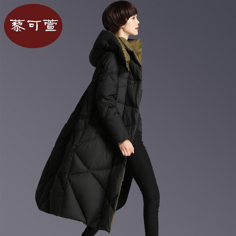 2017 new hot winter woman Down jacket Coat Parkas Hooded Straight long Cold Windproof black plus size 3XXXL Over knee Stitching