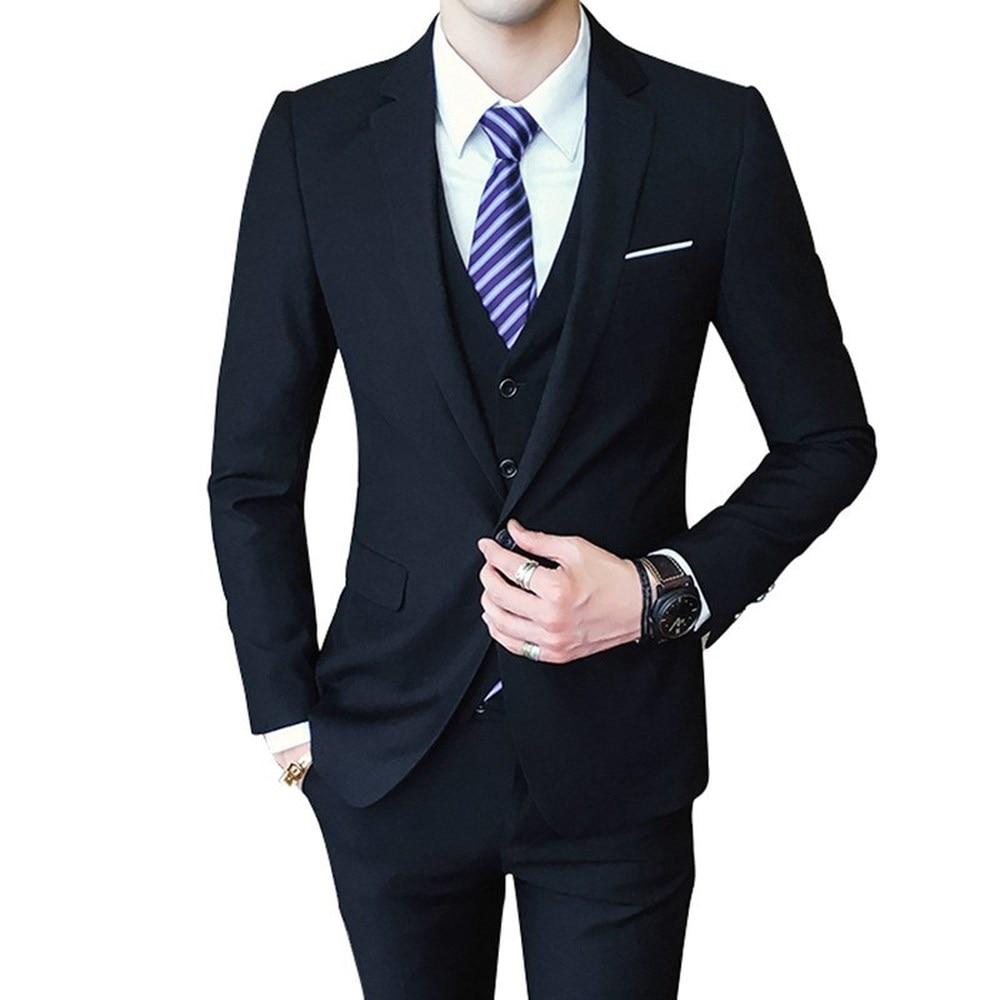 Mens 3 Pieces (jacket + Vest + Trousers) Male Busines Dress Slim Fit Suits Solid Color Groom Wedding Suits Outwear 4XL 5XL 6XL