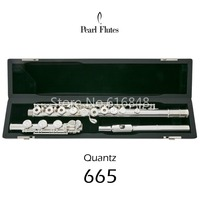 Pearl Quantz 665 Brand High Quality C Tune Flute Silver Plated 17 Keys Open Hole Flute E Mech Musical Instrument With Case