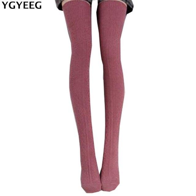 Ygyeeg пикантные модные женские туфли для девочек высокие Чулки для женщин Гольфы 9 Цвета милые длинные хлопковые теплые сапоги выше гетры Чулки для женщин