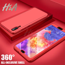 H&A Luxury 360 Protective Case For Huawei Nova 3 3e 3i Phone Case For Huawei P20 Lite Nova 3e Cover Case Huawei P20 Pro Glass(China)