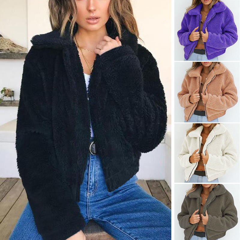 Faux Fur Warm Winter Coat Plus Size S-3XL Women Fashion Fluffy Shaggy Cardigan Bomber Jacket Lady Coats Zipper Outwear