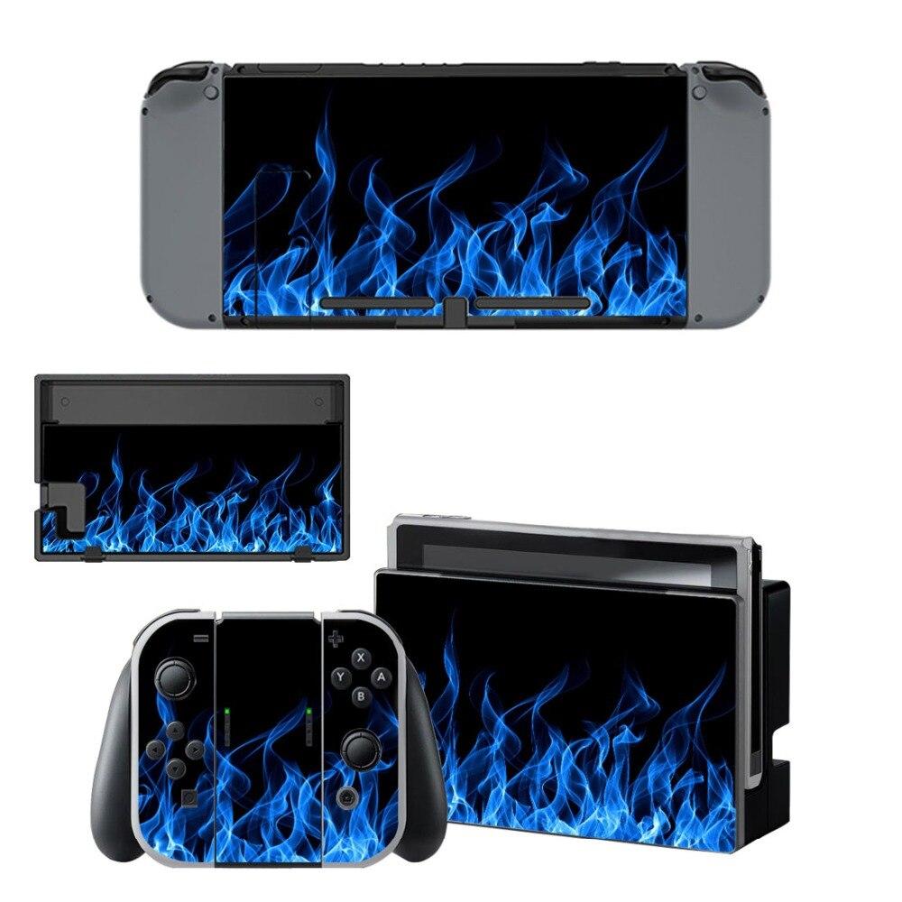 Купить с кэшбэком Nintend Switch Vinyl Skins Sticker For Nintendo Switch Console and Controller Skin Set - For Blue Fire Devils