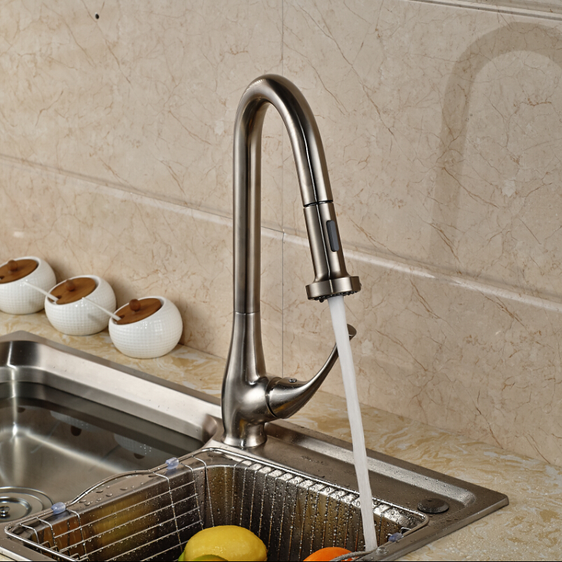 Stainless Steel European Style Kitchen Faucet with Pull out Sprayer ...