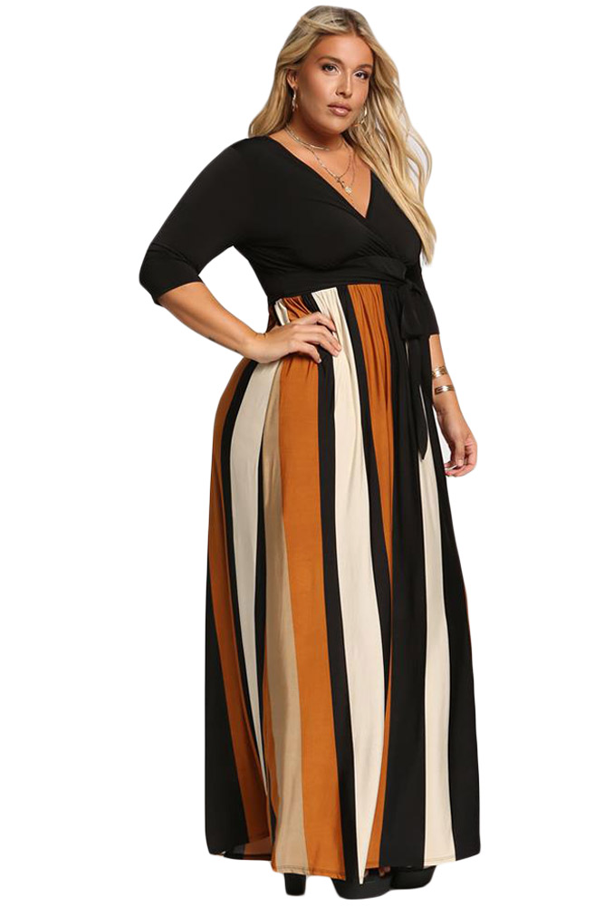 Mustard-Color-Blocked-Skirt-Plus-Size-Maxi-Dress-LC610502-7-3