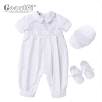 Gooulfi Christening Baby Boy Clothes Summer Newborn Baptism White Cotton Baptism 3 Pcs Infant Set Newborn Baby Boy Clothes